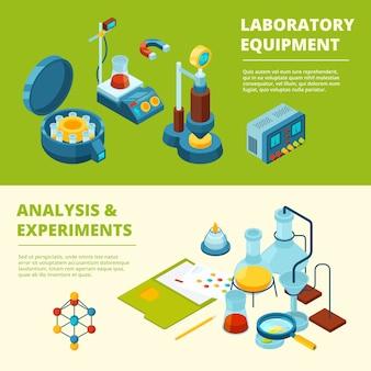 Wetenschappelijke banners. medisch of chemisch experiment laboratorium kamer en apparatuur isometrische foto's