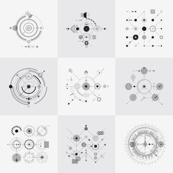 Wetenschappelijke bauhaus-vectorreeks van technologie de cirkelnetten