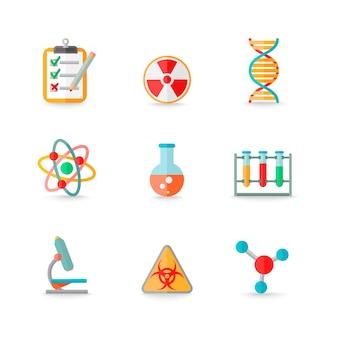 Wetenschappelijke chemie laboratorium apparatuur van retort glazen atoom dna symbolen pictogrammen set geïsoleerde vector illustratie