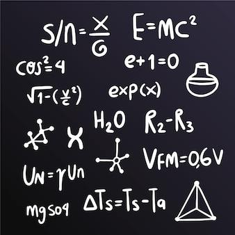 Wetenschappelijke formules op bord concept
