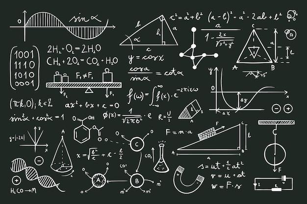 Wetenschappelijke formules op schoolbord