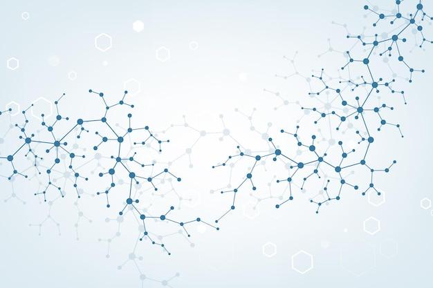 Wetenschappelijke molecuul achtergrond dna dubbele helix vectorillustratie met ondiepe scherptediepte myst...