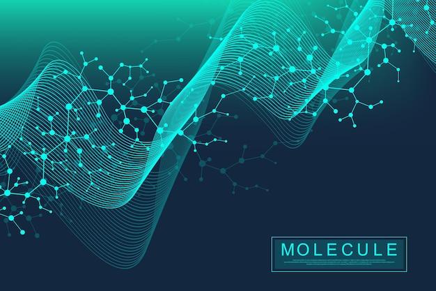 Wetenschappelijke molecuul achtergrond dna dubbele helix vectorillustratie met ondiepe scherptediepte. mysterieus behang of spandoek met een dna-molecule. zorg en wetenschap innovatie patroon.