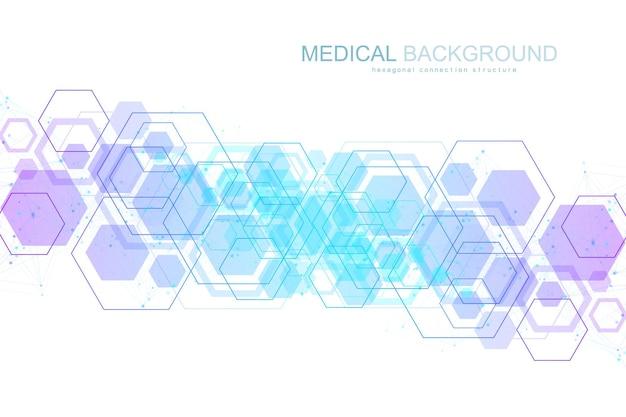 Wetenschappelijke molecuulachtergrond voor geneeskunde, wetenschap, technologie, scheikunde. wallpaper of banner met een dna-moleculen, dna digitaal, volgorde, codestructuur. vector geometrische dynamische illustratie