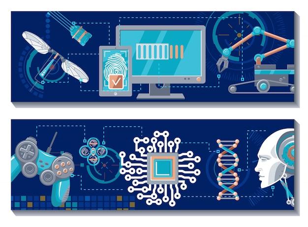 Wetenschappelijke robotachtige horizontale banners