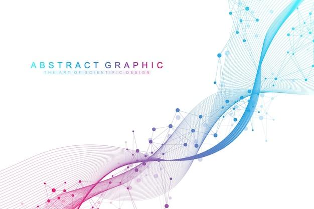 Wetenschappelijke vector illustratie genetische manipulatie en genmanipulatie concept. dna-helix, dna-streng, molecuul of atoom, neuronen. abstracte structuur voor wetenschap of medische achtergrond. crispr cas9.