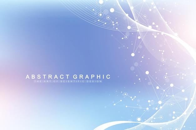 Wetenschappelijke vector illustratie genetische manipulatie en genmanipulatie concept. dna-helix, dna-streng, molecuul of atoom, neuronen. abstracte structuur voor wetenschap of medische achtergrond. golfstroom.