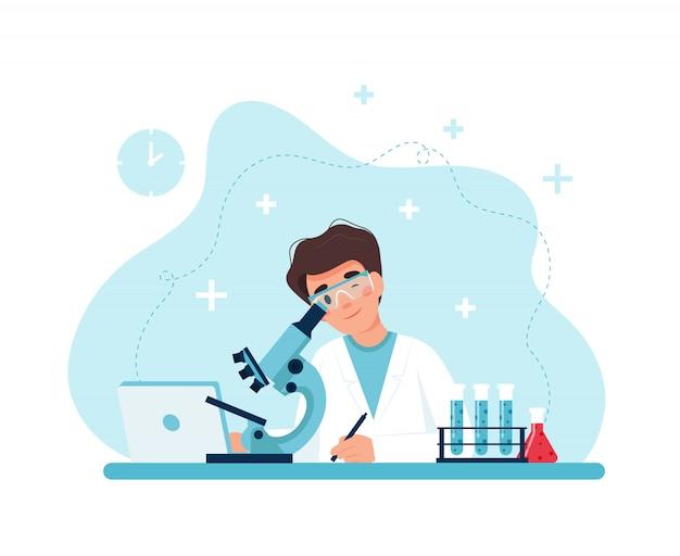 Wetenschapper aan het werk, mannelijk karakter experimenten uitvoeren met microscoop.