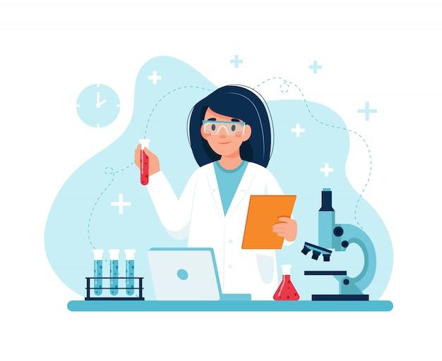 Wetenschapper aan het werk, vrouwelijk karakter dat experimenten in laboratorium uitvoert.