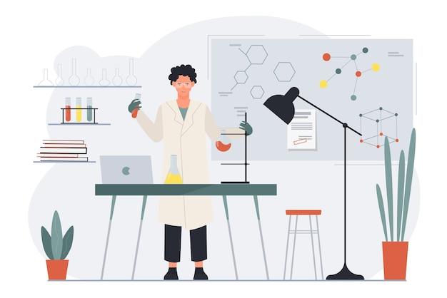 Wetenschapper bezig met het maken van wetenschapstest chemisch experiment