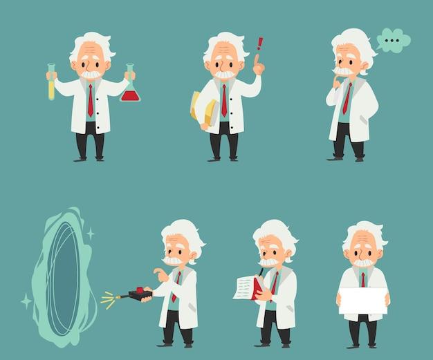 Wetenschapper bij laboratoriumwerk instellen platte illustraties