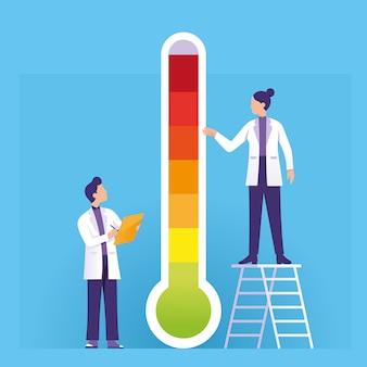 Wetenschapper die de thermometer van de hete en koele weersomstandigheden controleert