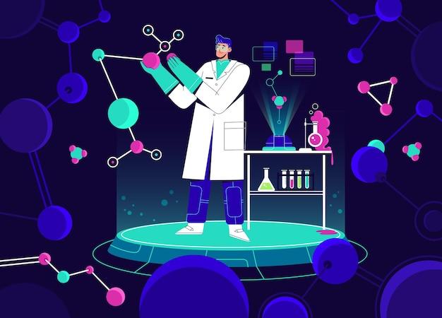 Wetenschapper die in laboratorium werkt.