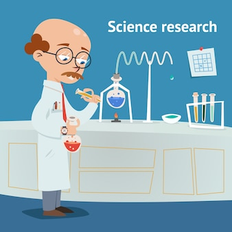Wetenschapper die onderzoek doet in een chemisch laboratorium met verschillende experimenten aan de gang terwijl hij een oplossing uit een reageerbuis in een bekerglas vectorillustratie giet