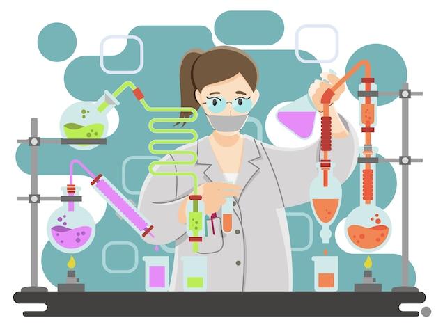 Wetenschapper die op laboratorium onderzoekt