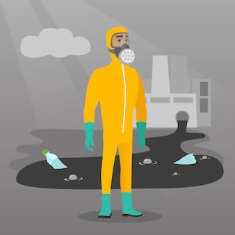 Wetenschapper die stralingsbeschermingskostuum draagt.