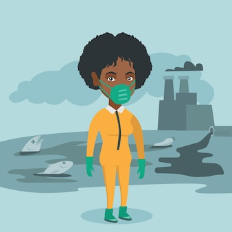 Wetenschapper die stralingsbeschermingspak draagt.