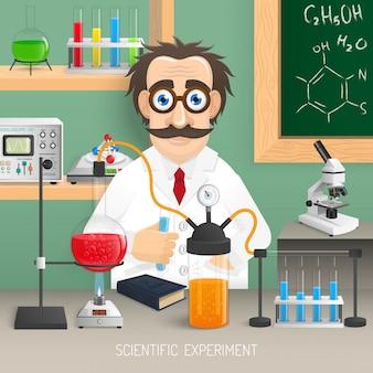 Wetenschapper in chemielaboratorium met realistisch wetenschappelijk experimentmateriaal