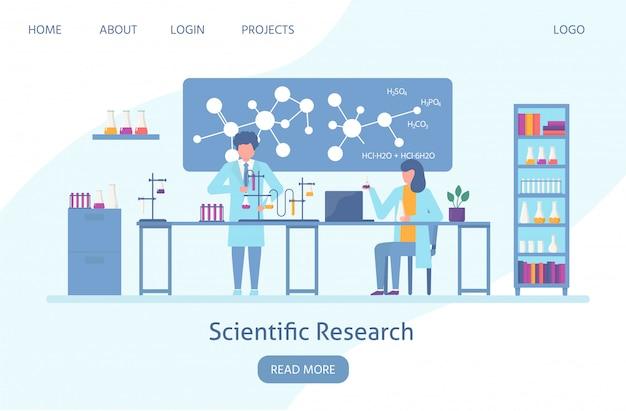 Wetenschapper in laboratorium, chemisch wetenschappelijk onderzoek met wetenschappers mensen en chemische formules web banner vlakke afbeelding.