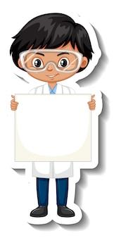 Wetenschapper jongen met leeg bord stripfiguur sticker