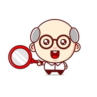 Wetenschapper karakter met vergrootglas