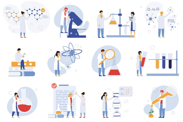 Wetenschapper karakters. chemische onderzoekers, biologen of laboratoriummedewerkers, wetenschappelijke medische werkers vector illustratie set. onderzoek wetenschapper karakters