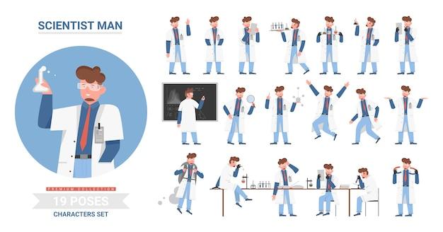 Wetenschapper man vormt set, mannelijke stripfiguur werken in de collectie van wetenschappelijk onderzoek laboratorium