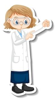 Wetenschapper meisje stripfiguur in staande pose