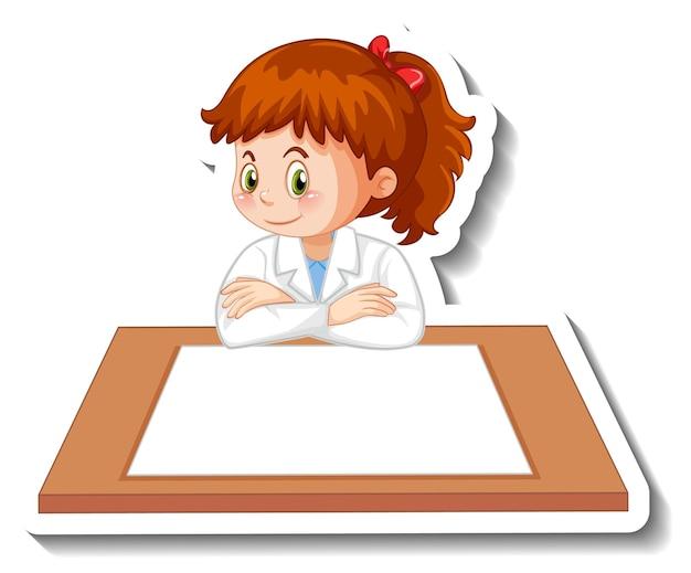 Wetenschapper meisje stripfiguur met lege tafel