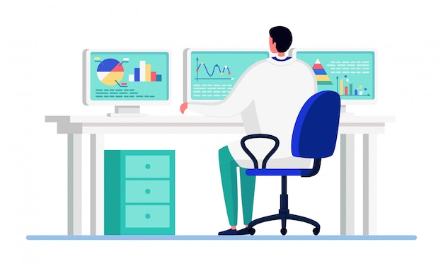 Wetenschapper mensen in innovatie laboratorium illustratie, arts stripfiguur bezig met statistische analyse op wit