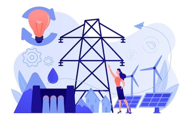 Wetenschapper met ideeën voor duurzame ontwikkeling: zonnepanelen, waterkracht, wind
