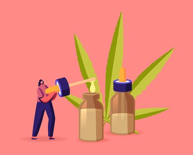 Wetenschapper of apotheker karakter produceren olie van medicinale cannabis