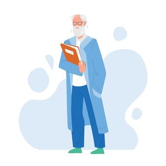 Wetenschapper oude man in uniform met map vector. laboratoriummedewerker bebaarde senior wetenschapper die een bril en professioneel kostuum draagt. karakter wetenschap beroep platte cartoon illustratie