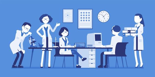 Wetenschappers aan het werk. mannelijke, vrouwelijke experts van fysisch of natuurlijk laboratorium in witte jassen onderzoek met microscoop, computer. wetenschap, technologieconcept. illustratie met gezichtsloze karakters