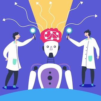 Wetenschappers bestuderen hersenrobot kunstmatige neuronen werken