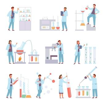 Wetenschappers biochemische gedrag laboratorium set illustratie