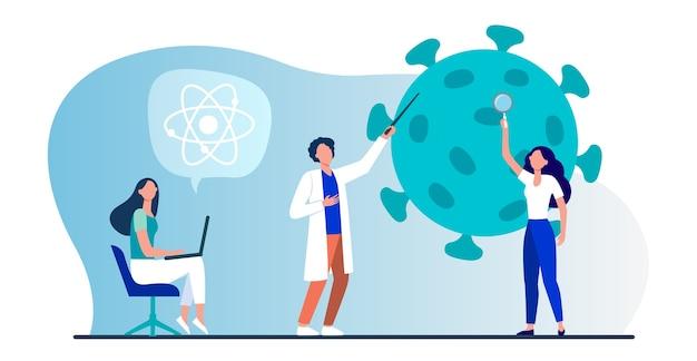 Wetenschappers die het coronavirus bestuderen. team van deskundigen die medisch onderzoek platte vectorillustratie doen. virus, pandemie, wetenschap
