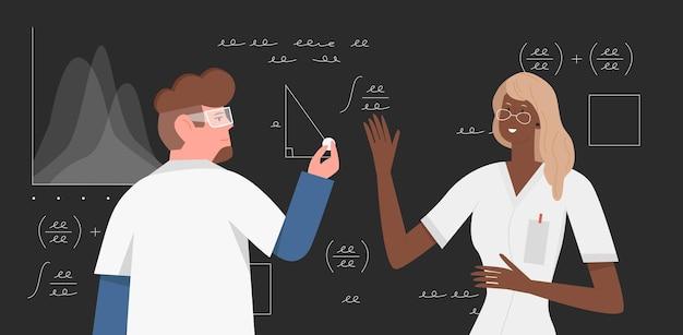 Wetenschappers doen onderzoek naar wetenschappelijke wiskundeonderzoekers die wiskundige formules schrijven
