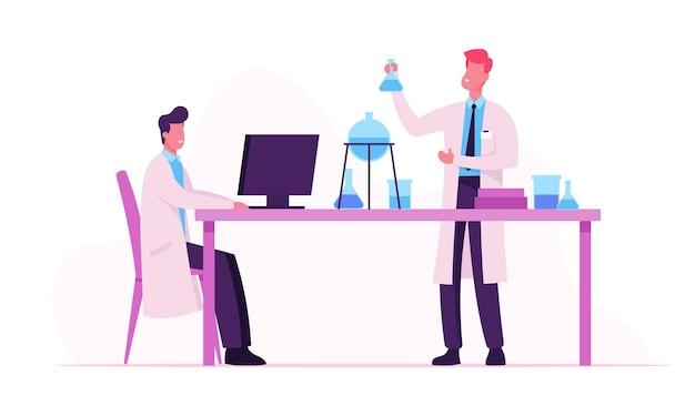Wetenschappers dragen witte laboratoriumjassen die experimenten en wetenschappelijk onderzoek in het laboratorium uitvoeren. cartoon vlakke afbeelding