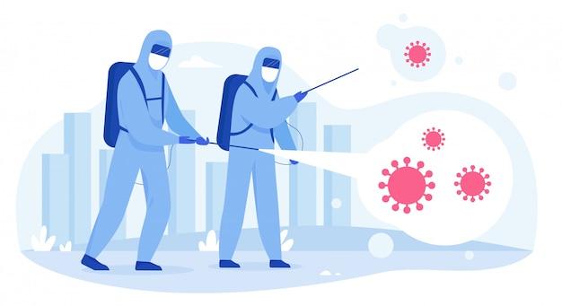 Wetenschappers in hazmat-pakken reinigen, reinigen en desinfecteren stadsstraten van het covid-19 corona-virus. epidemie coronavirus pandemie concept vlakke afbeelding