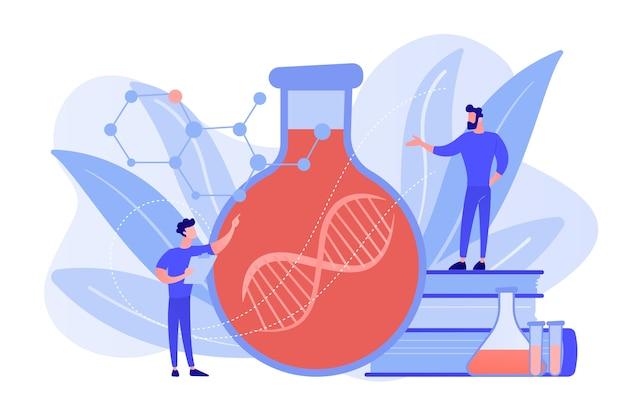 Wetenschappers in lab werken met enorme dna-ketting in de glazen bol. gentherapie, genoverdracht en functionerend genconcept op witte achtergrond. roze koraal bluevector geïsoleerde illustratie
