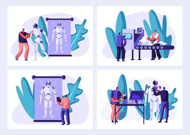 Wetenschappers maken cyborgs in illustraties van laboratoriumsets