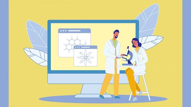Wetenschappers met een microscoop vectorillustratie