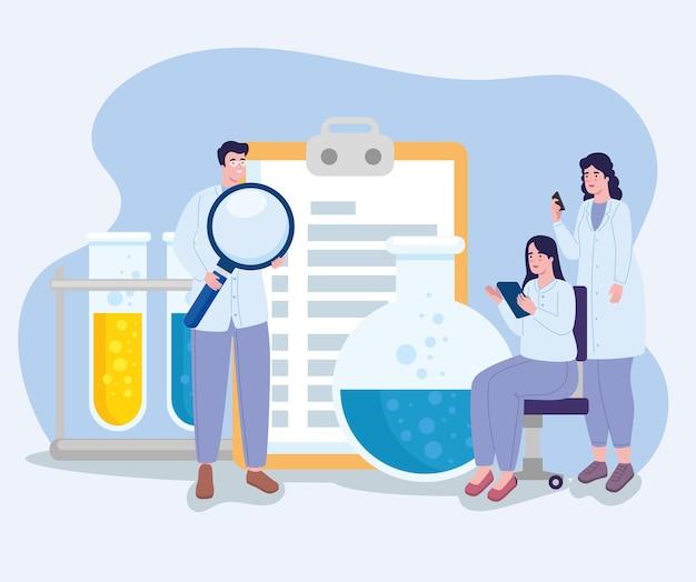 Wetenschappers met laboratoriumpictogrammen