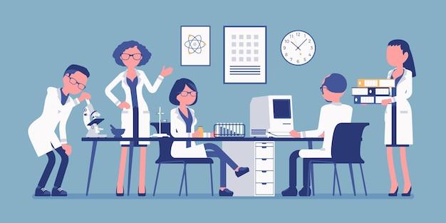 Wetenschappers op het werk illustratie