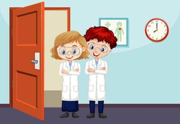 Wetenschappers staan in de kamer