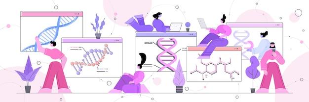 Wetenschappers team werken met dna in webbrowser windows onderzoekers maken experiment in online lab dna testen genetische manipulatie concept