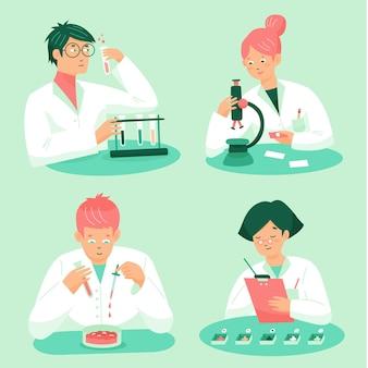 Wetenschappers werken collectie