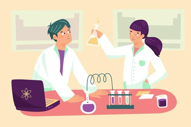 Wetenschappers werken in het lab