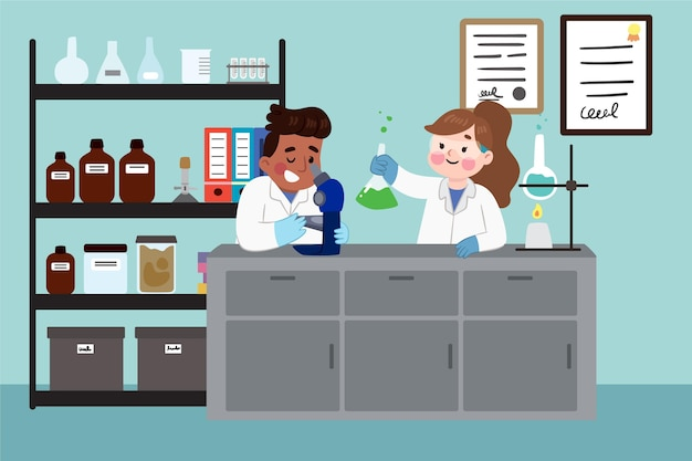 Wetenschappers werken in laboratorium